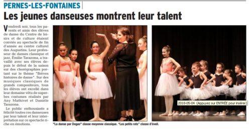 VAUCLUSE MATIN LE 24 AVRIL 2018 Gala de Danse Classique et Jazz ...