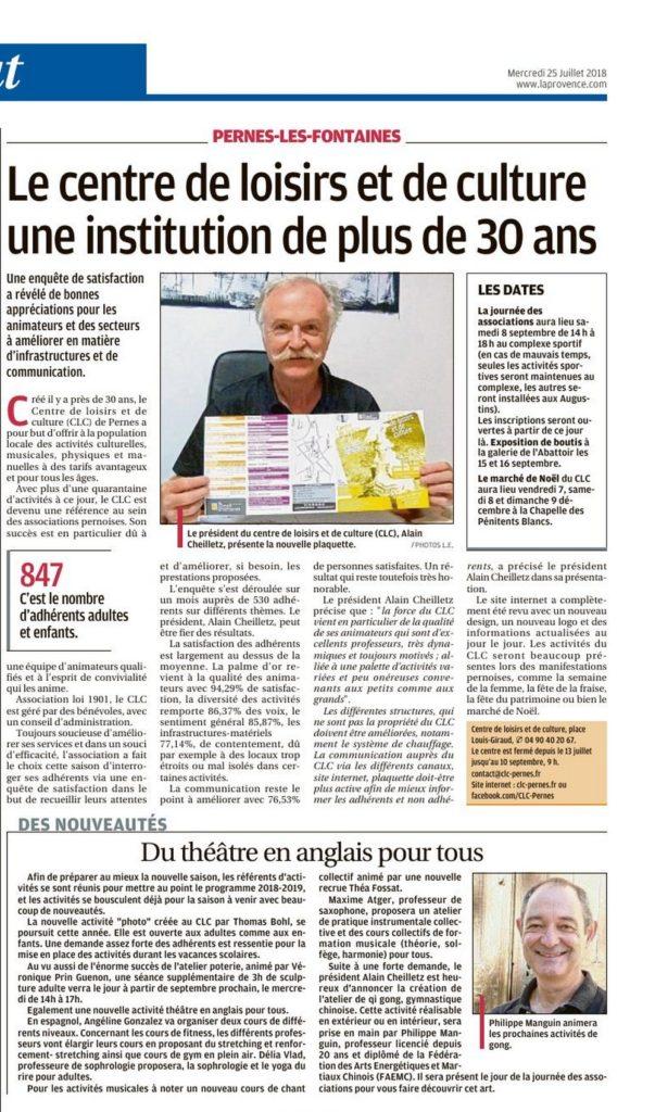 La Provence 25 juillet 2018 Le Centre de Loisirs et de Culture une institution de plus de 30 ans