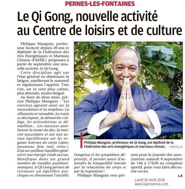 La Provence 20 août 2018 Le Qi Gong Une nouvelle activité au CLC Pernes les Fontaines