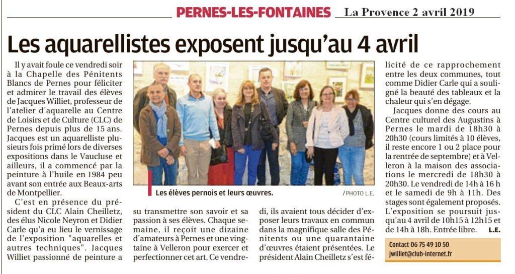 La Provence 2 avril 2019 Les aquarellistes exposent jusqu'au 4 avril à la Chapelle des Pénitents