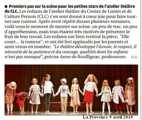 La Provence 9 avril 2019 Premiers pas sur scène pour les élèves de l'atelier théâtre du CLC