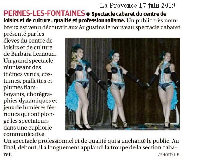 La Provence 17 juin 2019 Spectacle Cabaret de fin d'année qualité et professionnalisme
