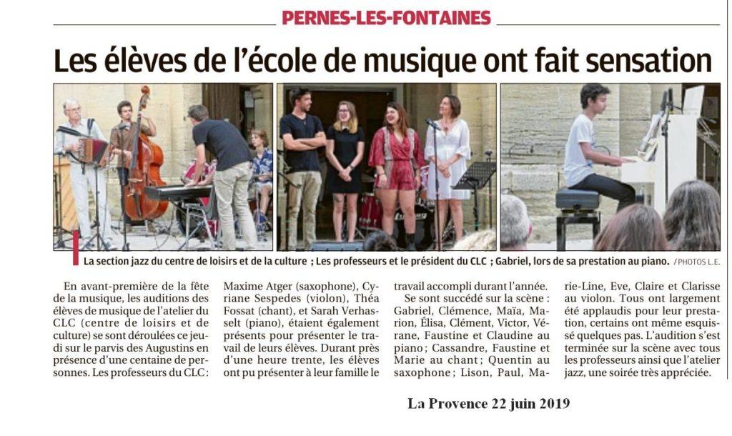 La Provence 22 juin 2019 Les élèves de musique du CLC ont fait sensation