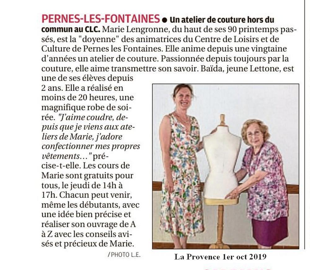 La Provence 1er octobre 2019 Un atelier de couture hors du commun avec le CLC