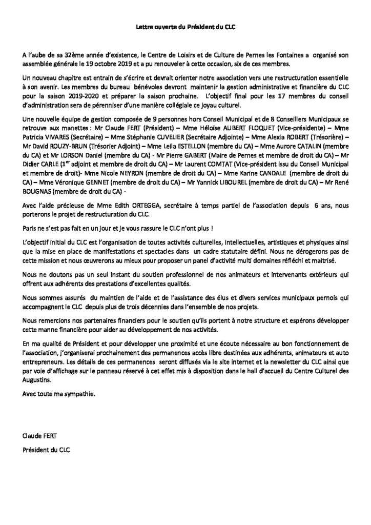 Lettre ouverte du Président du CLC