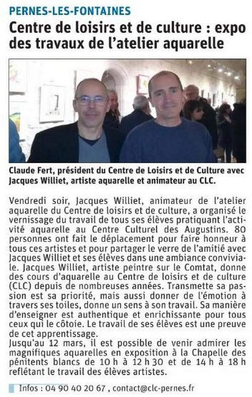 Vaucluse Matin 11 mars 2020 Expo des travaux de l'atelier aquarelle