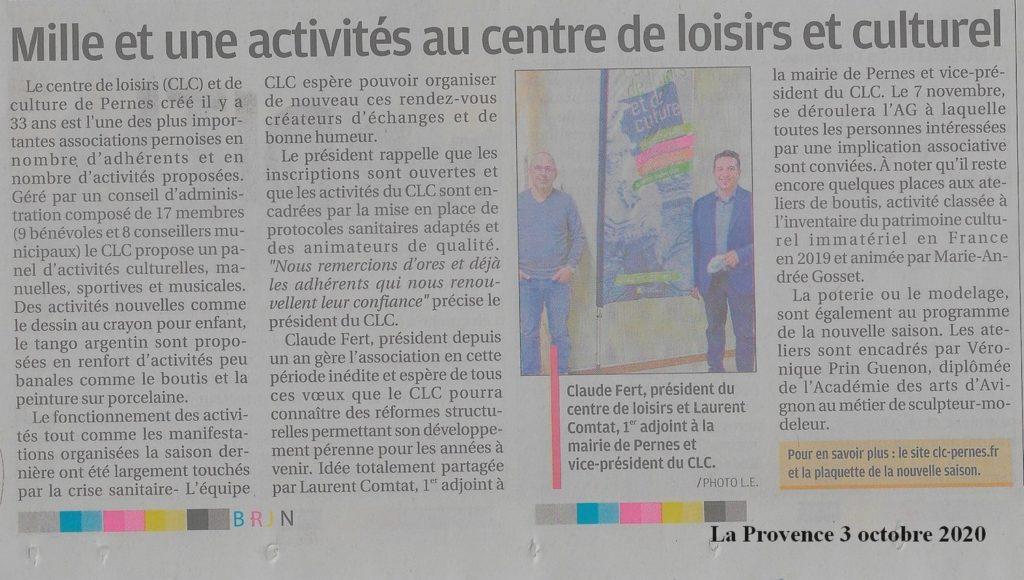La Provence 3 octobre 2020 Mille et une activités au CLC