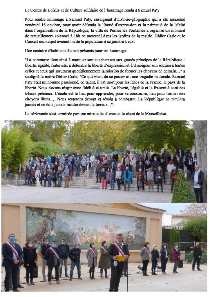 Le Centre de Loisirs et de Culture solidaire de l'hommage rendu à Samuel Paty