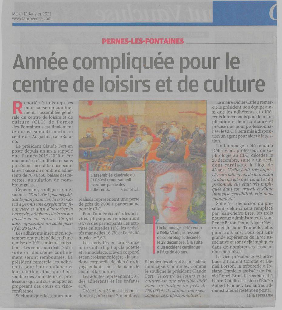 La Provence 12 janvier 2021 Année compliquée pour le CLC