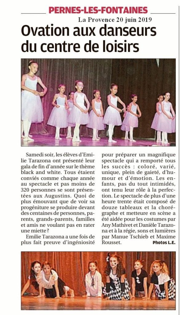 La Provence 20 juin 2019 Ovation aux danseurs du CLC