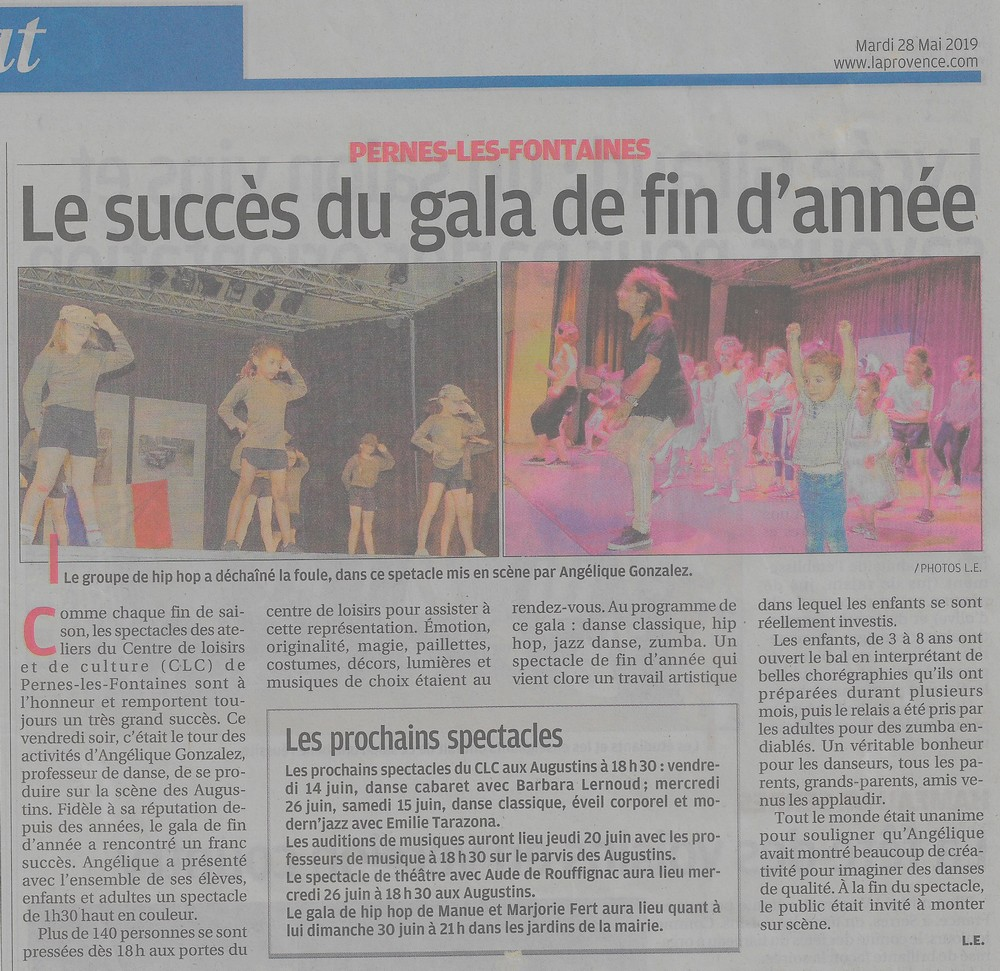 La Provence 28 mai 2019 Le succès du gala de fin d'année Angélique