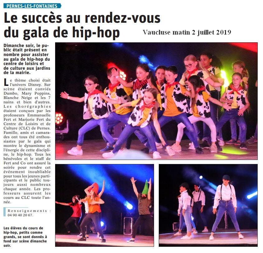 Vaucluse matin 2 juillet 2019 Succès au rendez-vous du gala de hip hop du CLC.jpg1