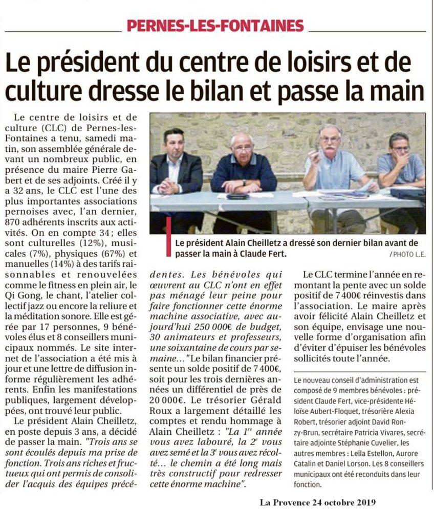 La Provence 24 octobre 2019 Le président du CLC dresse le bilan et passe la main
