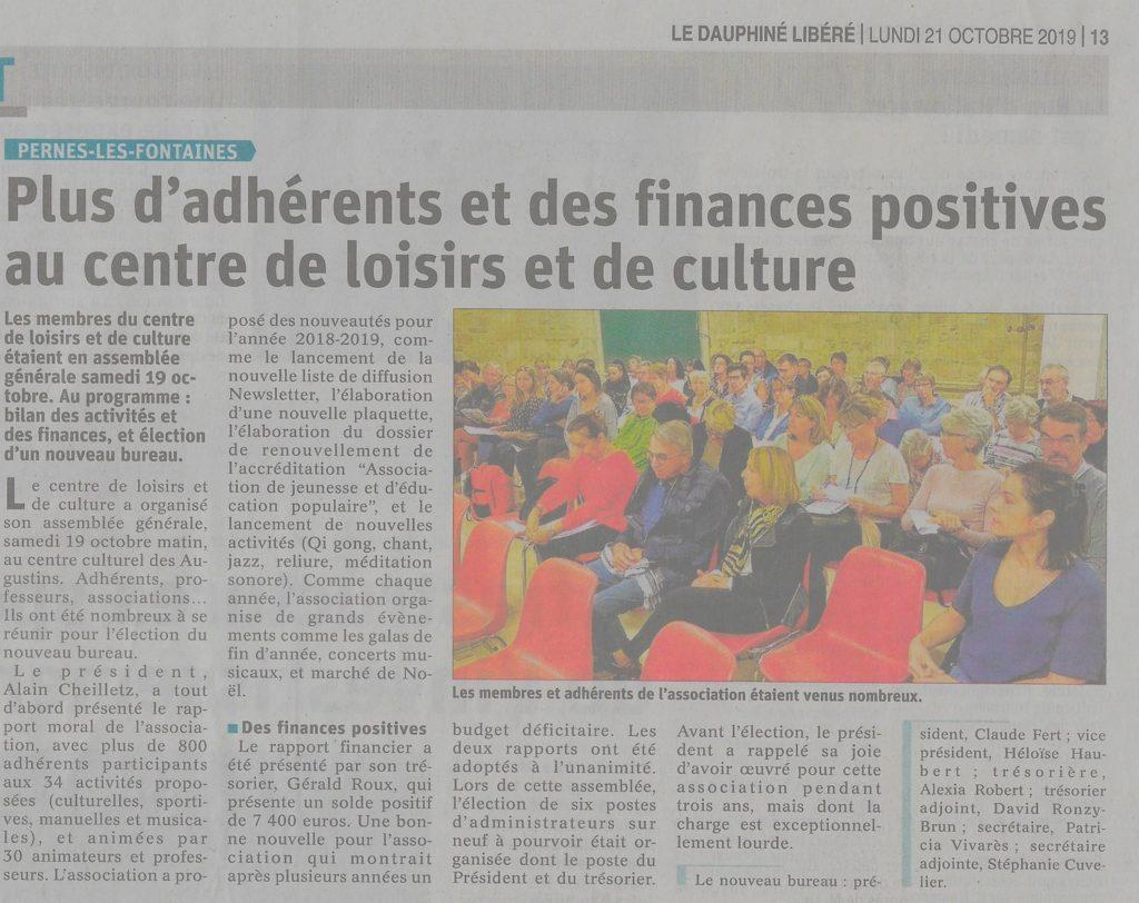 Vaucluse Matin 21 octobre 2019 Plus d'adhérents et des finances positives au CLC