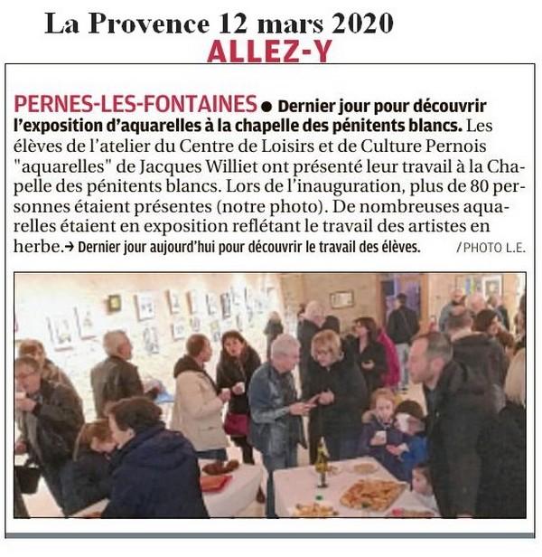 La Provence 12 mars 2020 Expo aquarelles