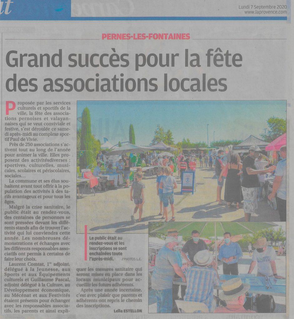 La Provence 7 septembre 2020 Grand succès pour la fête des associations locales