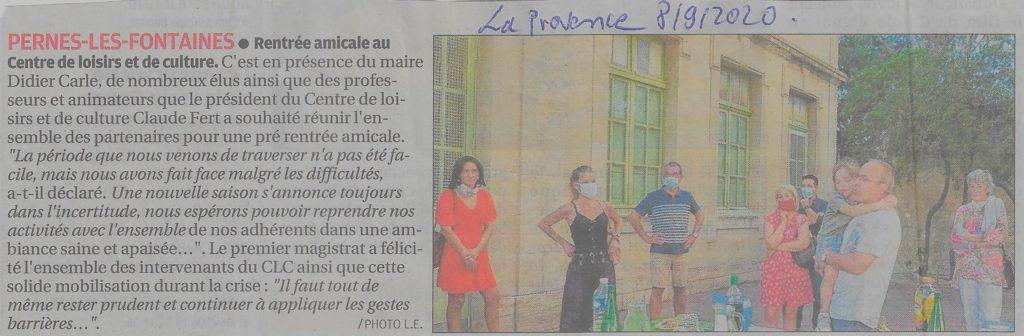 La Provence 8 septembre 2020 Rentrée amicale au CLC