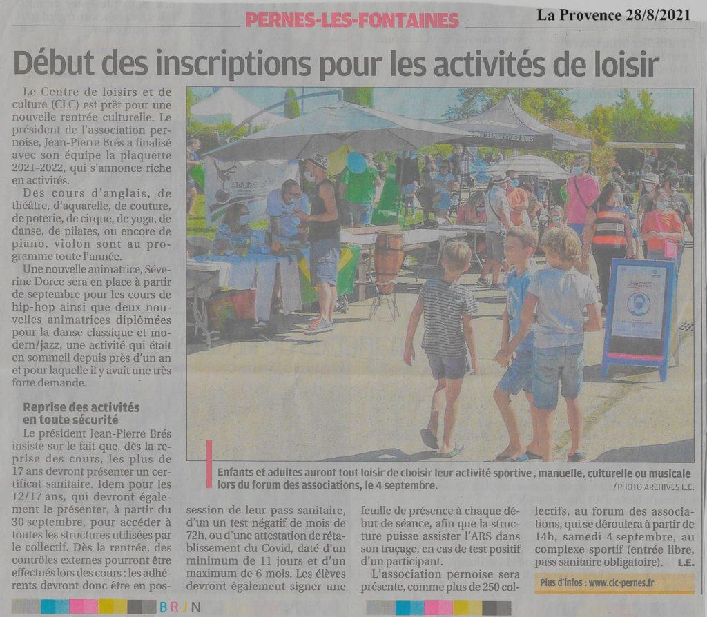 La Provence 28 août 2021 Début des inscriptions pour les activités de loisir
